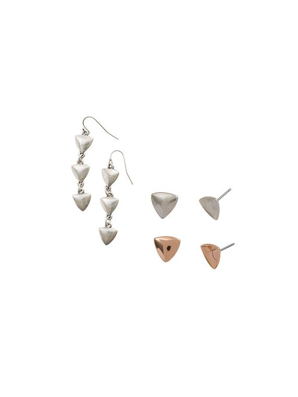 Rose Gold Arrow Earring Set